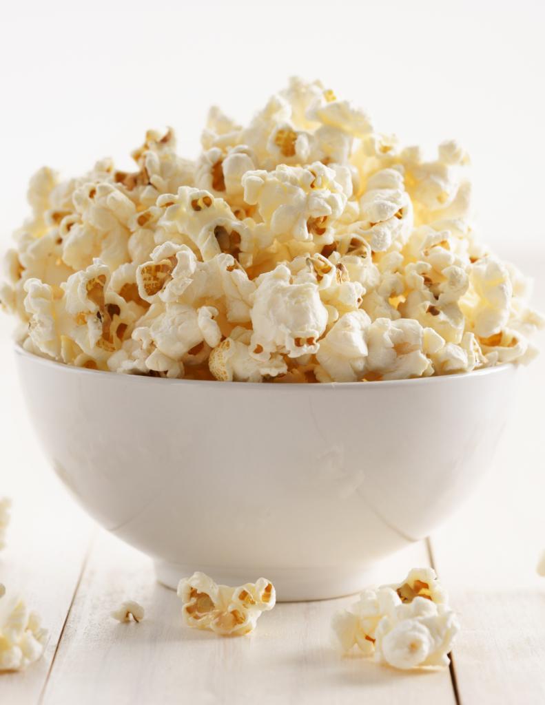 coconut oil popcorn in white bowl