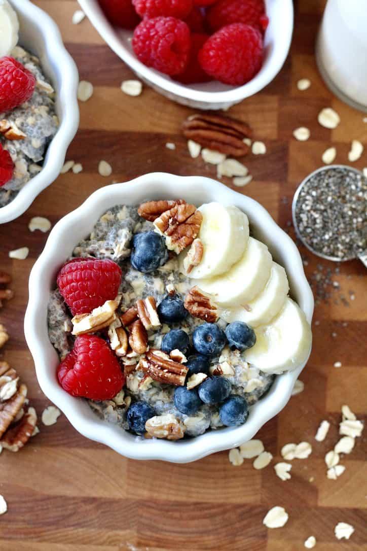 chia seed oatmeal with berries banana slices