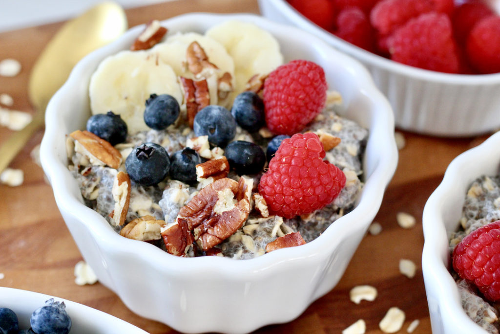 bowl of chia seed oatmeal with fruit