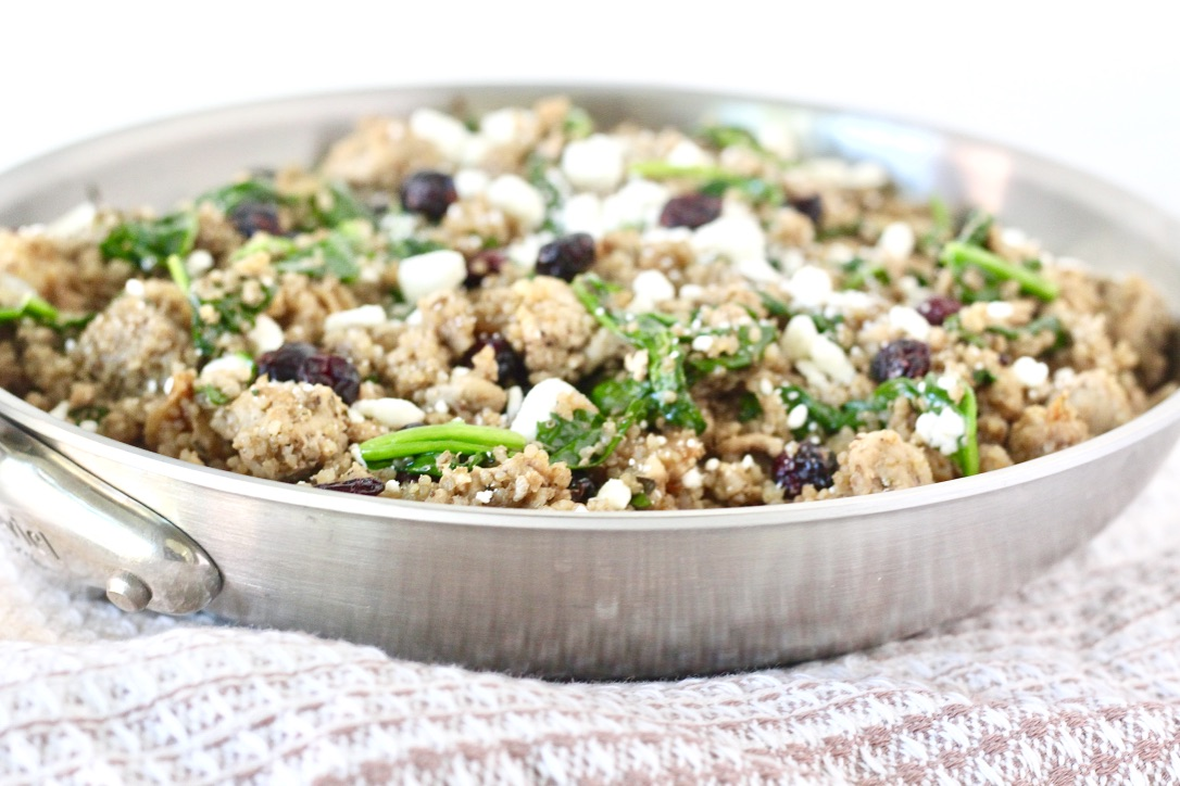 one pan meal with quinoa cranberries and spinach