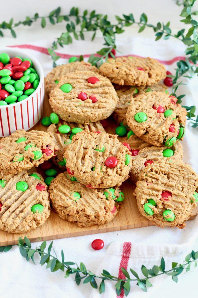 plate of m&m Christmas cookies