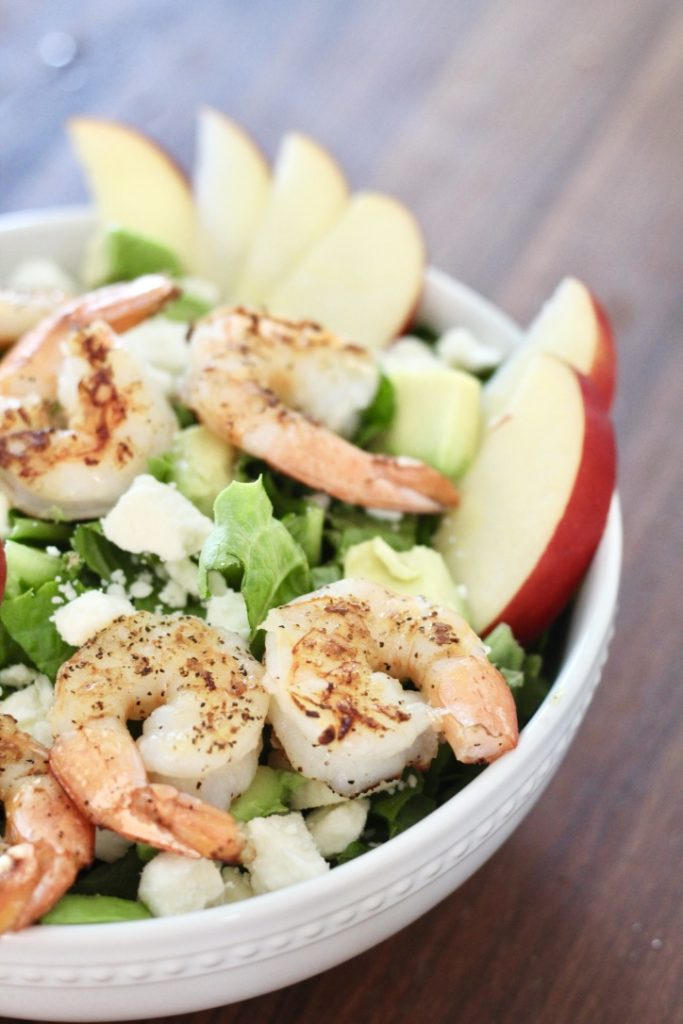shrimp salad in bowl with apples how to cook shrimp