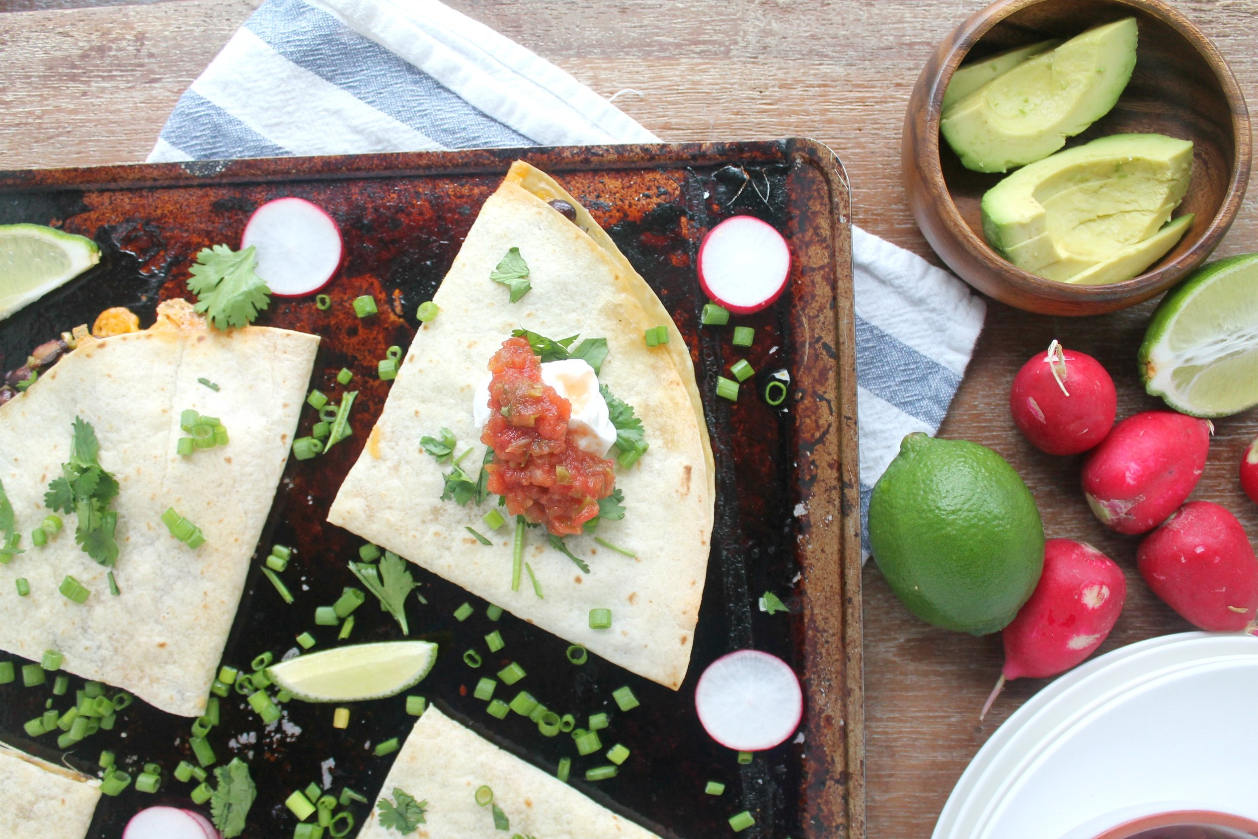 30-minute sheet pan dinners: nineteen easy dinner options   Cheesy Sheet Pan Quesadillas  by Jenny Shae Rawn, dietitian and blogger at My Cape Cod Kitchen