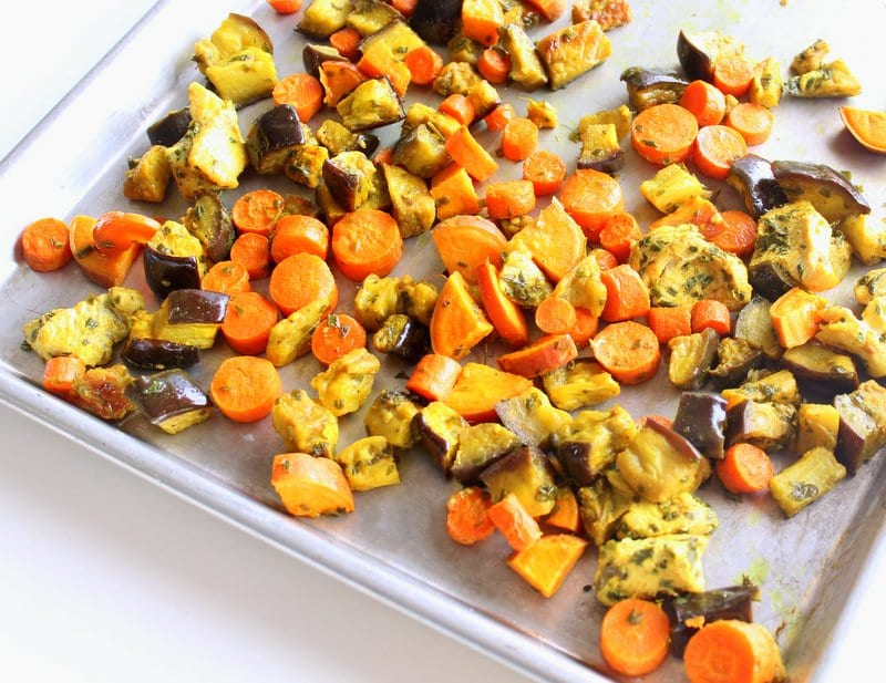 30-minute sheet pan dinners: nineteen easy dinner options   Moroccan Sheet Pan Dinner  by Tara Rochford, dietitian and blogger at TaraRochfordNutrition.com
