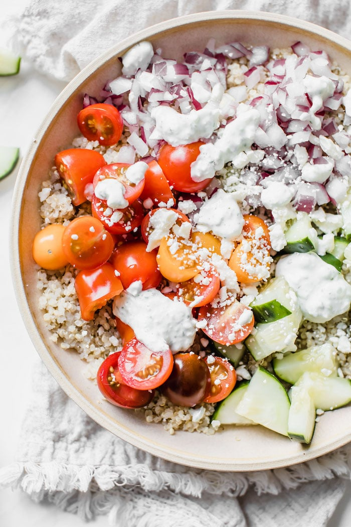 Pictured: Mediterranean Quinoa Bowl by The Almond Eater (48 Quick and Easy Meatless Meals for Busy People)