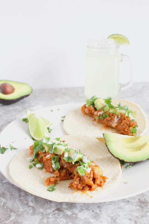 Pictured: Lentil Cauliflower Tacos by Sinful Nutrition (48 Quick and Easy Meatless Meals for Busy People)