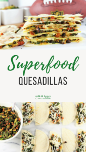 superfood quesadillas with black beans, peppers, and cheese milk and honey nutrition