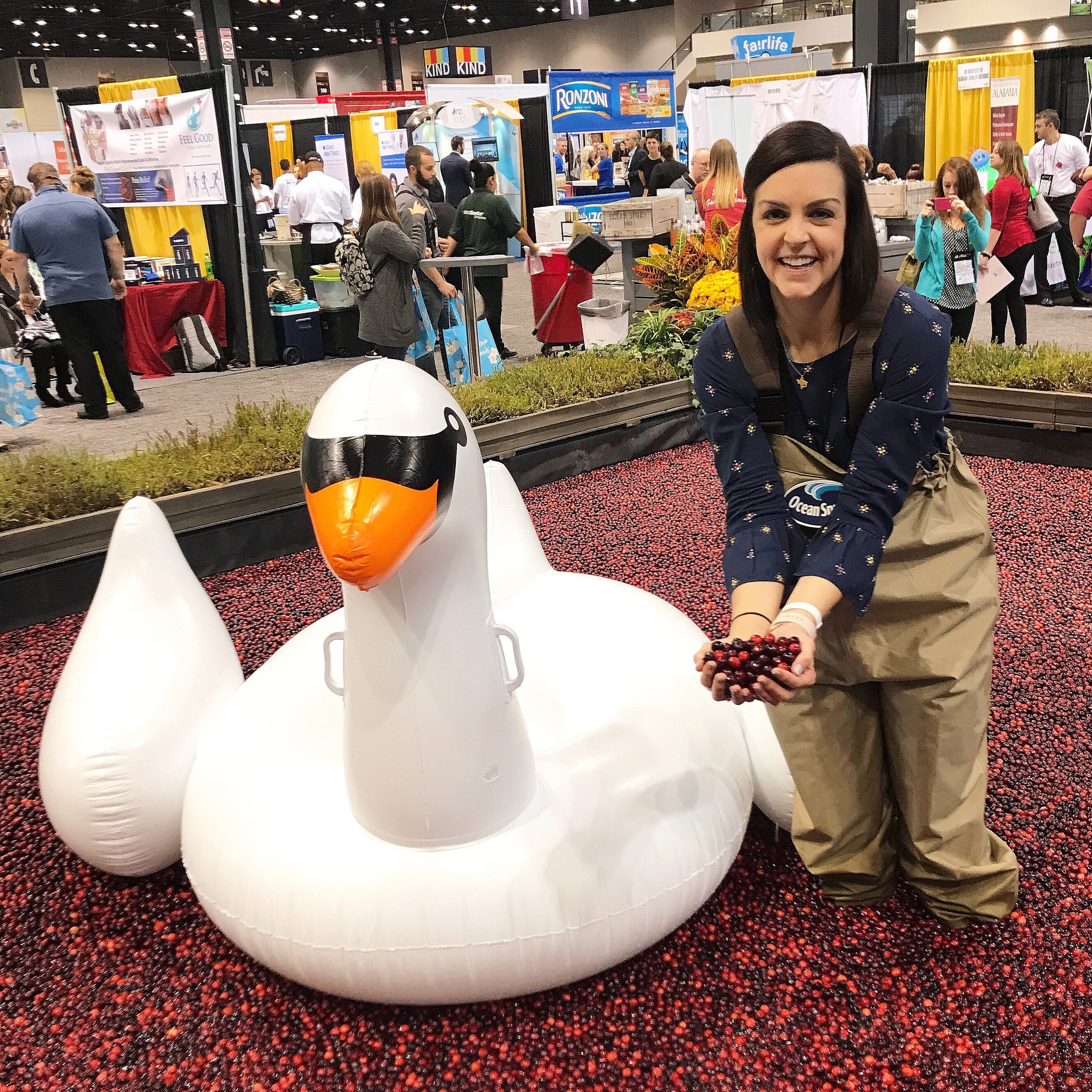 Me...in the cranberry bog... inside the Chicago convention center... in waders and boots... next to a massive inflatable swan. #totallynormal