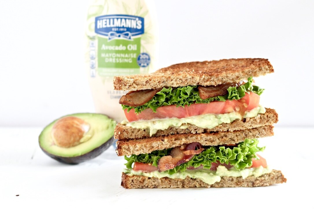 Avocado Lime BLT Sandwich with half of an avocado and Hellman's dressing