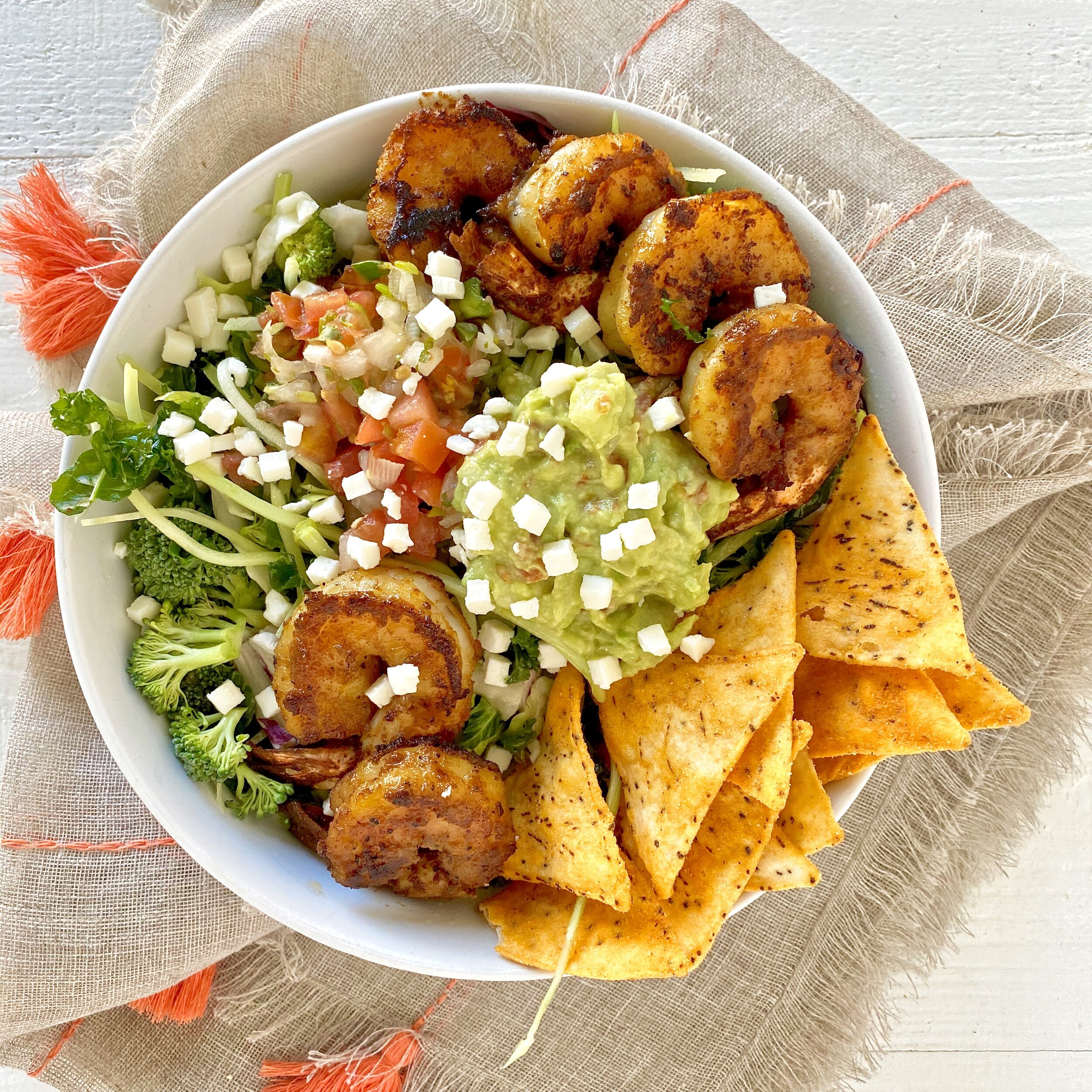 Blackened Shrimp and Veggie Taco Salad in a bowl