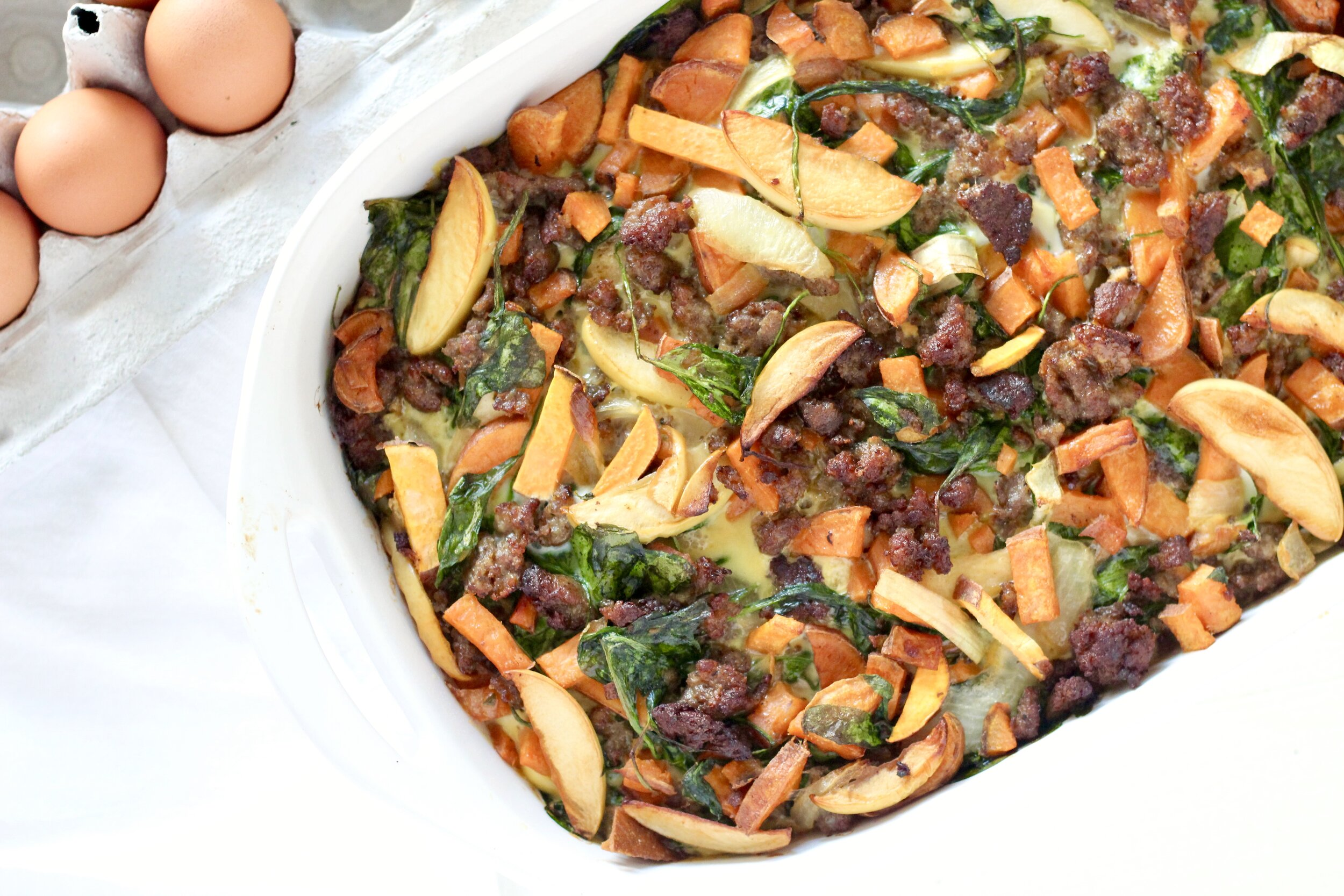 Caramelized Onion, Apple, and Sweet Potato Overnight Breakfast Bake