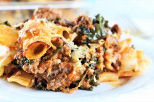 Cheesy Beef & Kale Pasta Bake up close image