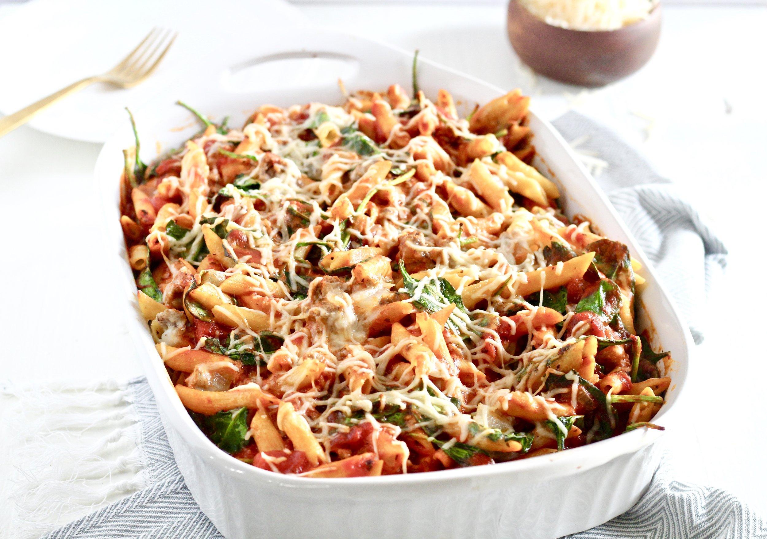 Cheesy Ground Lamb and Spinach Pasta Bake