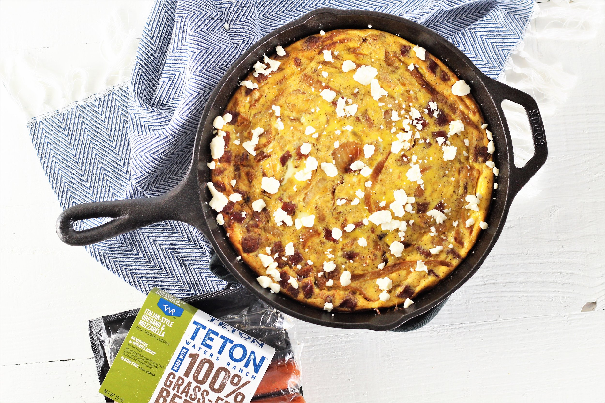 Crustless Caramelized Onion and Sausage Quiche