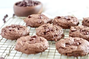 Double Chocolate Fudge Breakfast Cookies cooling down