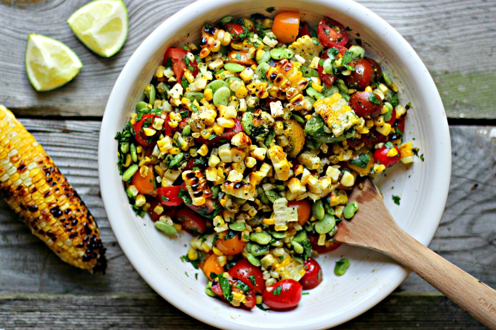 Easy Last Minute 4th of July Cookout Recipes; Pictured:  Summer Succotash with Grilled Corn  by The Gourmet RD
