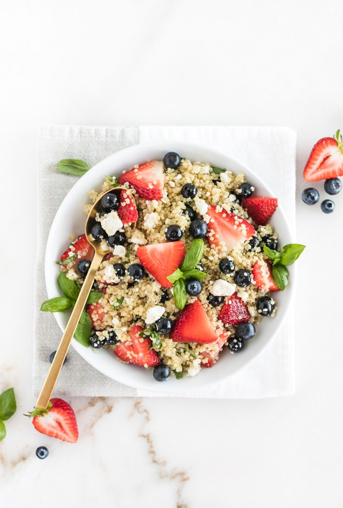 Easy Last Minute 4th of July Cookout Recipes; Pictured:  Red White and Blueberry Quinoa Salad  by Lively Table