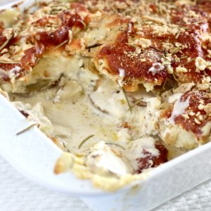 Friendsgiving Gluten Free Cheesy Au Gratin Potatoes