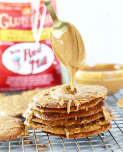 Gluten Free Oatmeal Peanut Butter Lace Cookies with peanut butter drizzle