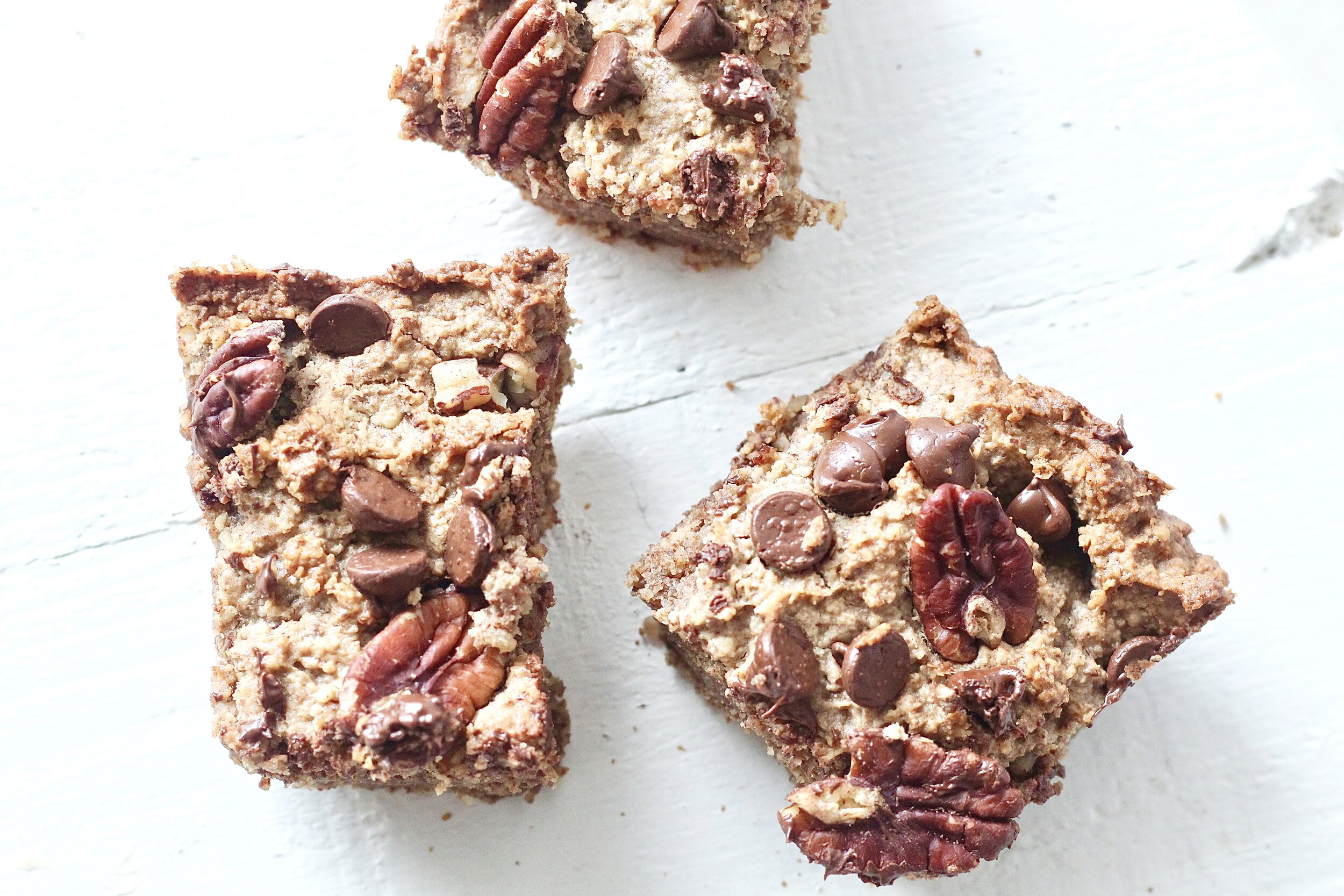 Grain Free Coconut Pecan Chocolate Chip Cookie Bars