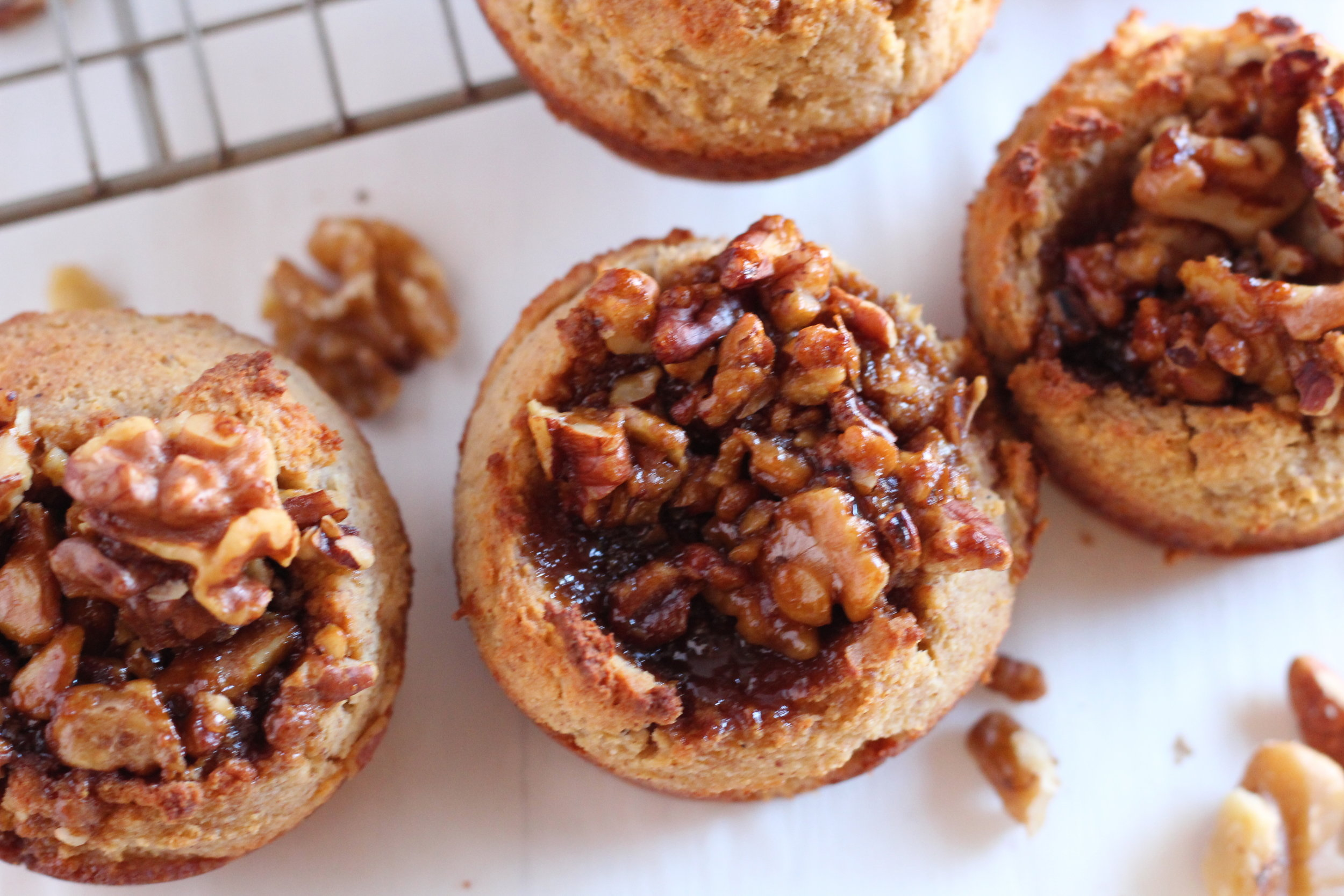 Grain Free Banana Muffins with Walnut Pecan Topping
