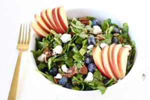 Heart Healthy Blueberry Apple Salad with gold fork
