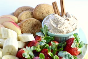 Holiday Snickerdoodle Cookie Dip with fruit and cookies