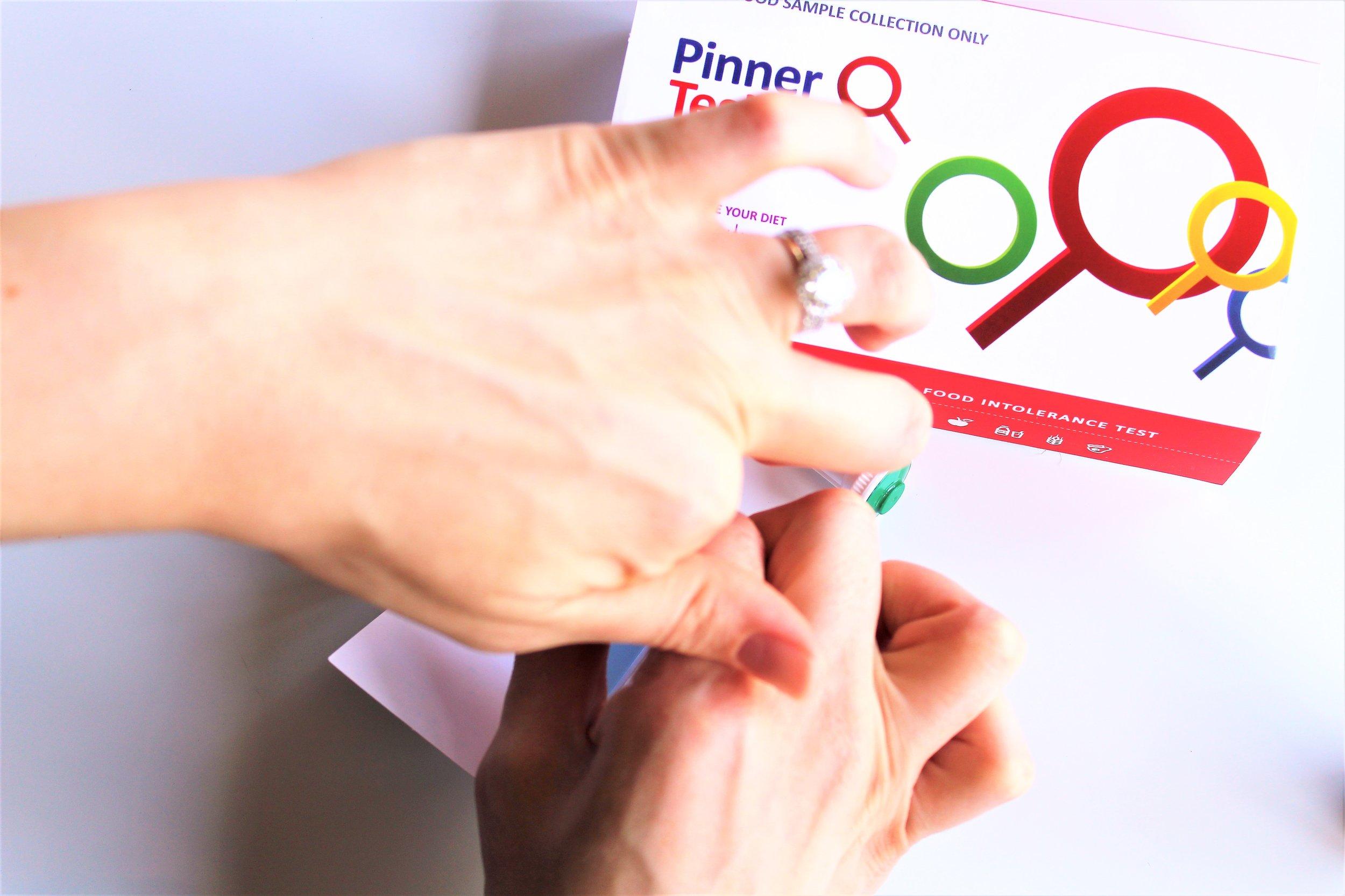 pinner test process pricking finger
