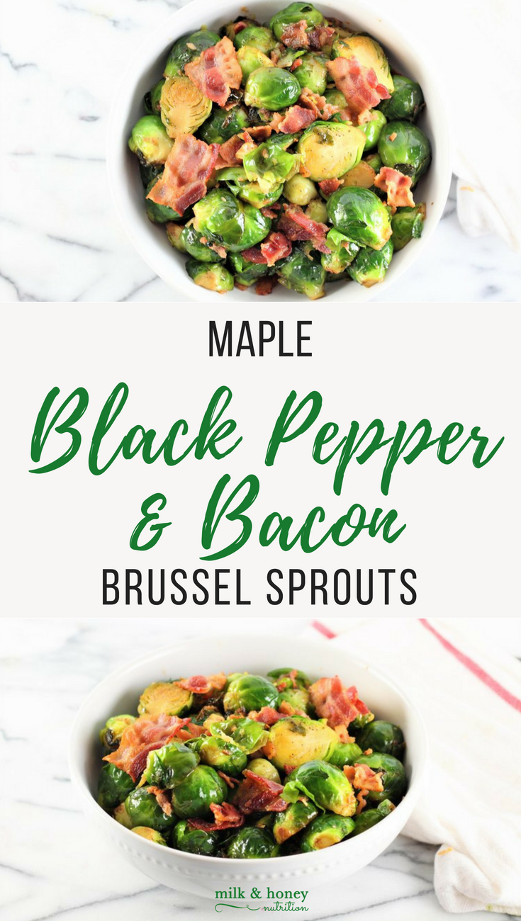 pinterest graphic for maple bacon brussel sprouts with black pepper