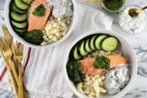 aerial view of Mediterranean Cauliflower Rice Bowls with Norwegian Salmon