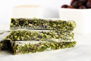 No bake green energy bars stacked