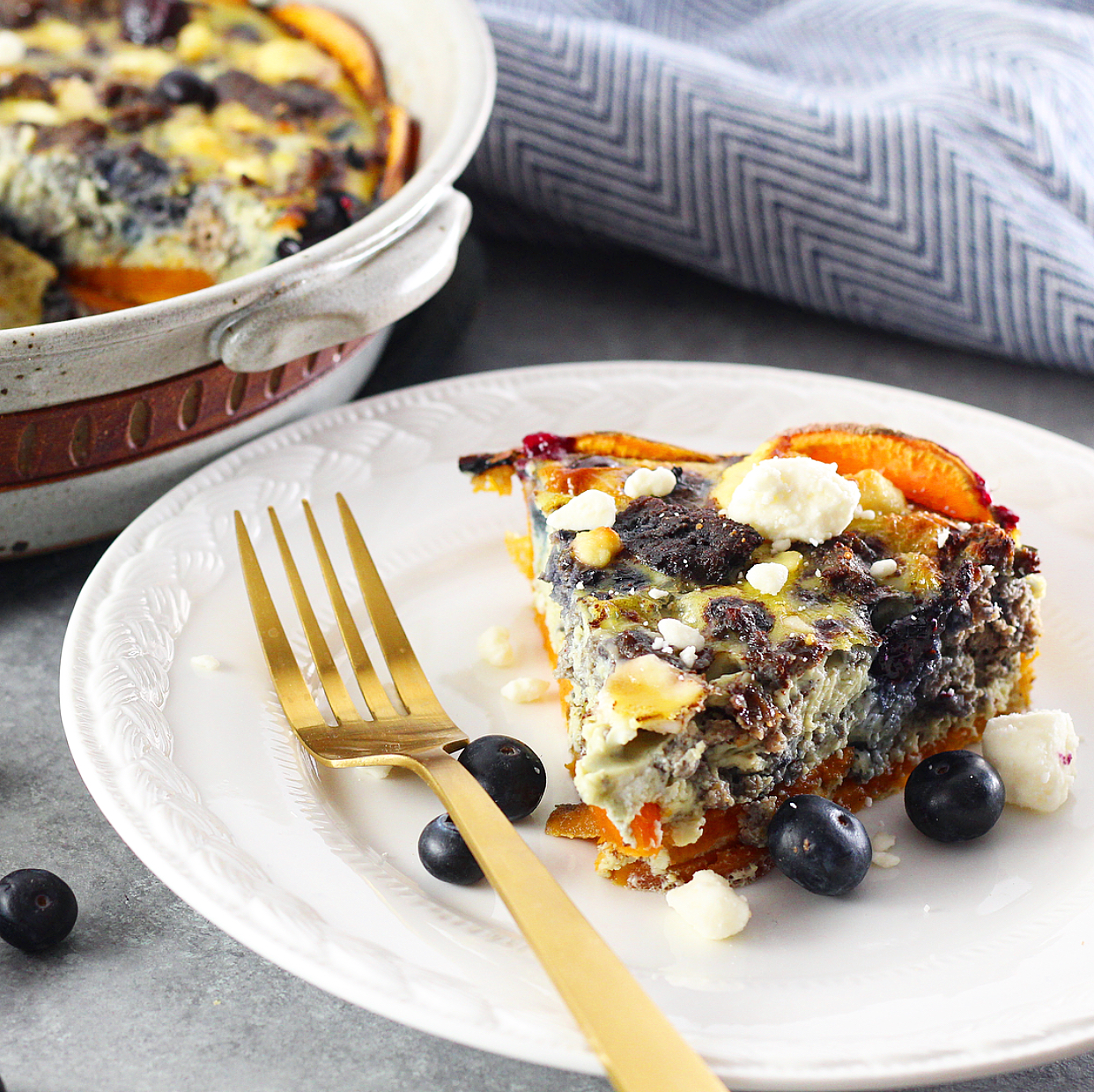 Blueberry Sweet Potato and Feta Quiche