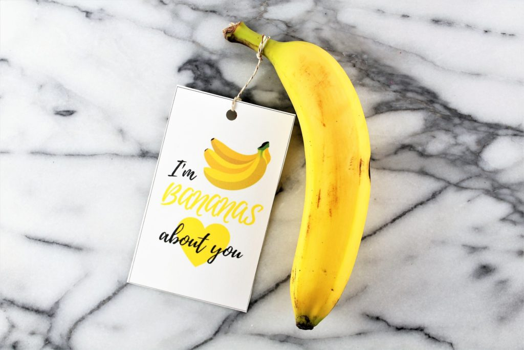I'm bananas about you card with banana fun food valentines day