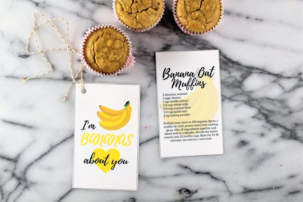 banana oat muffins recipe with valentines day card Im bananas about you