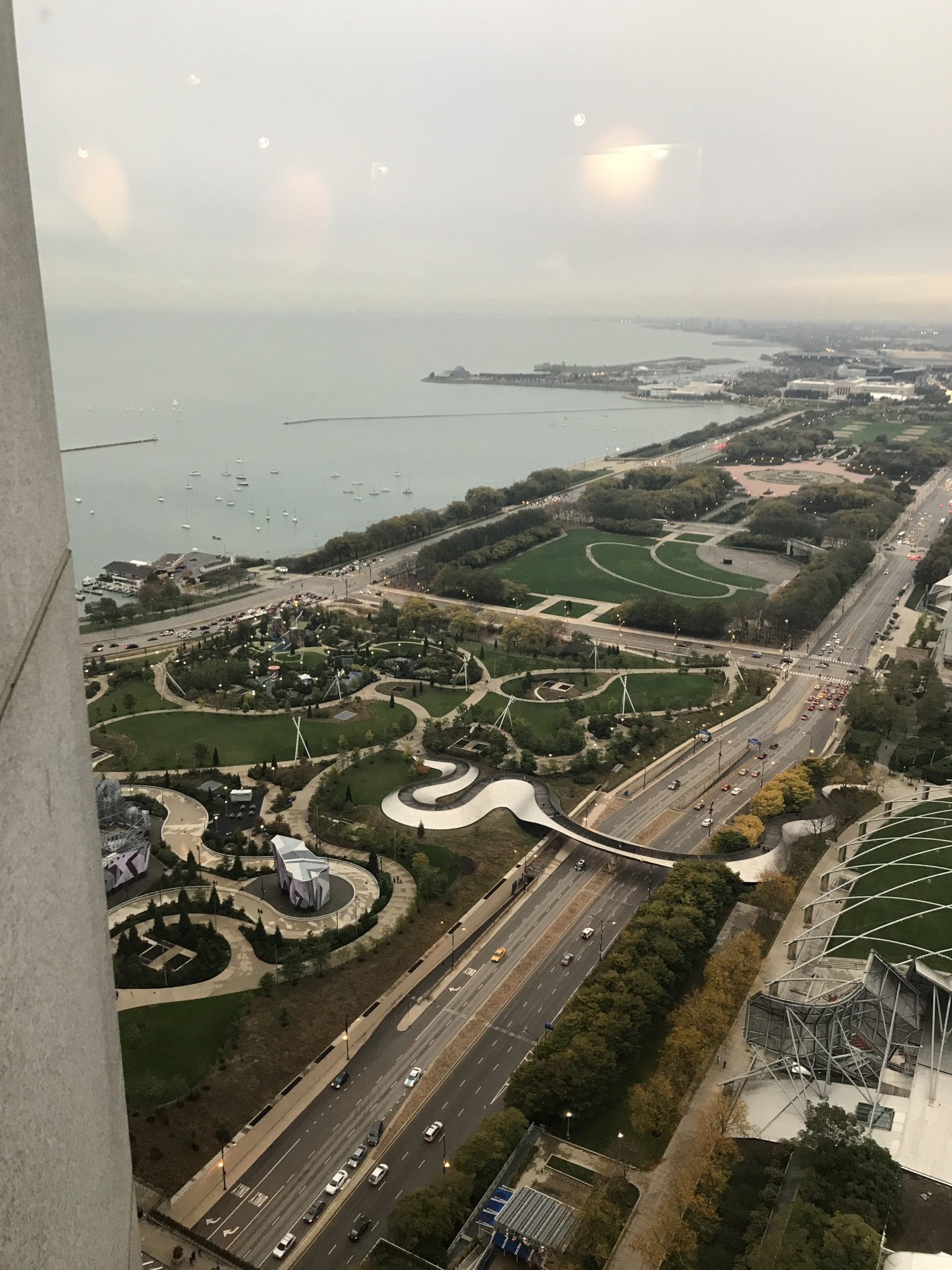 aerial view of chicago on lake michigan