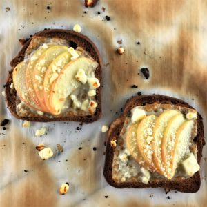 toast topped with apples and cheese