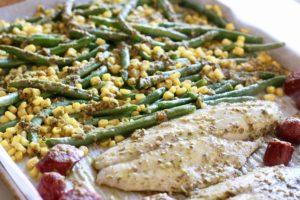 15-minute surf & turf pesto sheet pan dinner