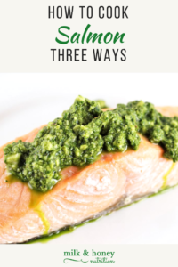 salmon with basil pesto topping milk and honey nutrition