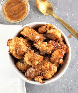 Roasted Cauliflower with Thai Peanut Sauce aerial view