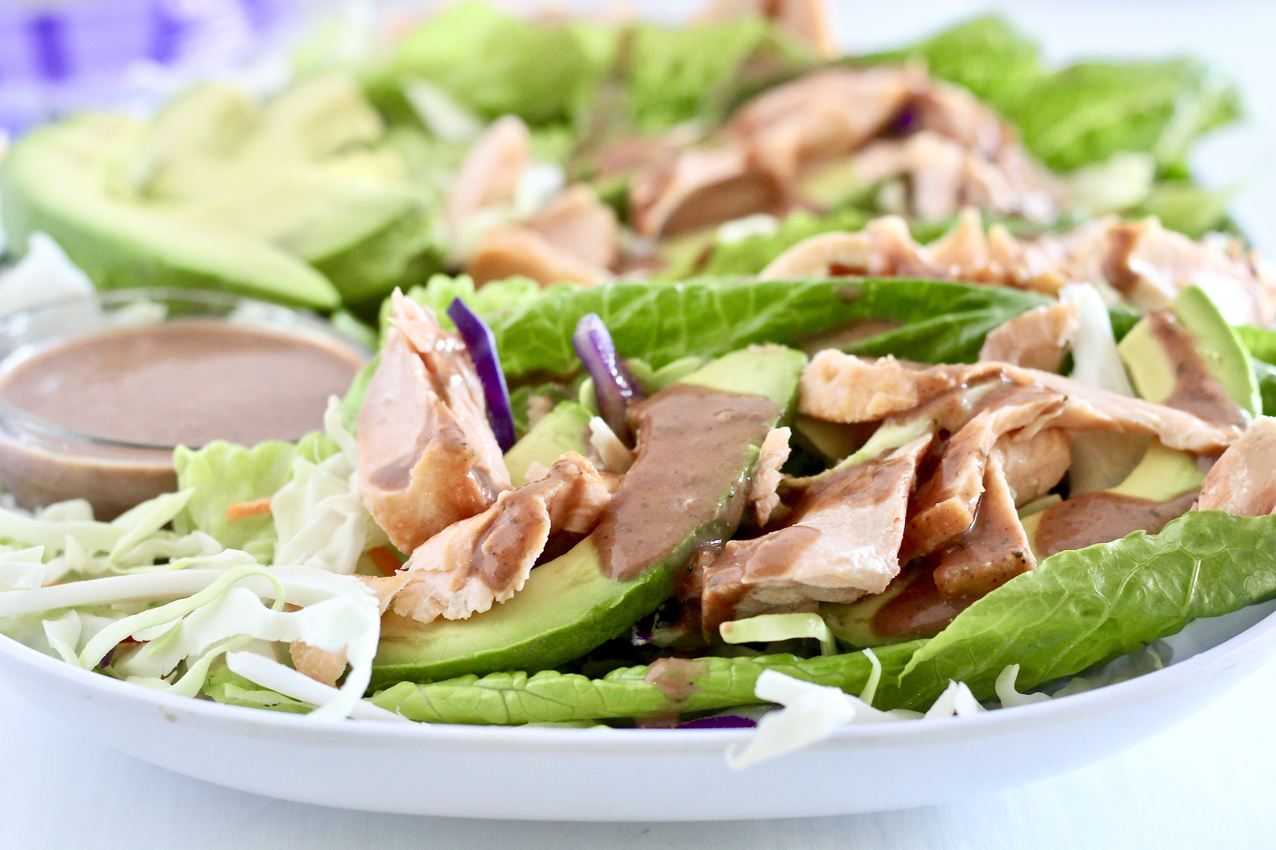 Salmon Lettuce Wraps with Spicy Black Bean Sauce