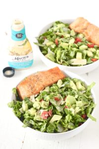 Smoked Black Pepper and Salmon Caesar Salad with Maries Dressing