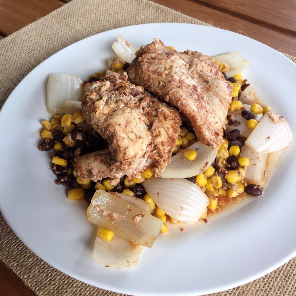 chicken with corn and black beans