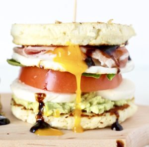 Veggie and Egg Caprese Breakfast Sandwiches