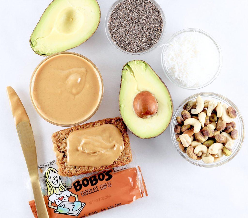 fat sources avocado nuts chia seeds peanut butter bobos