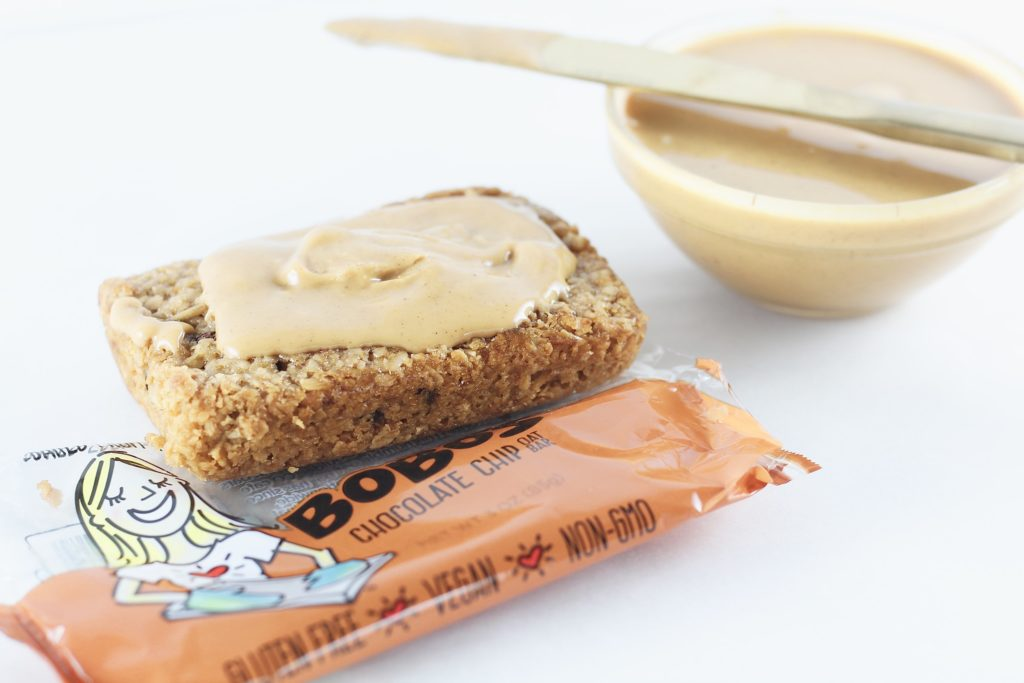 bobos bar with peanut butter topping