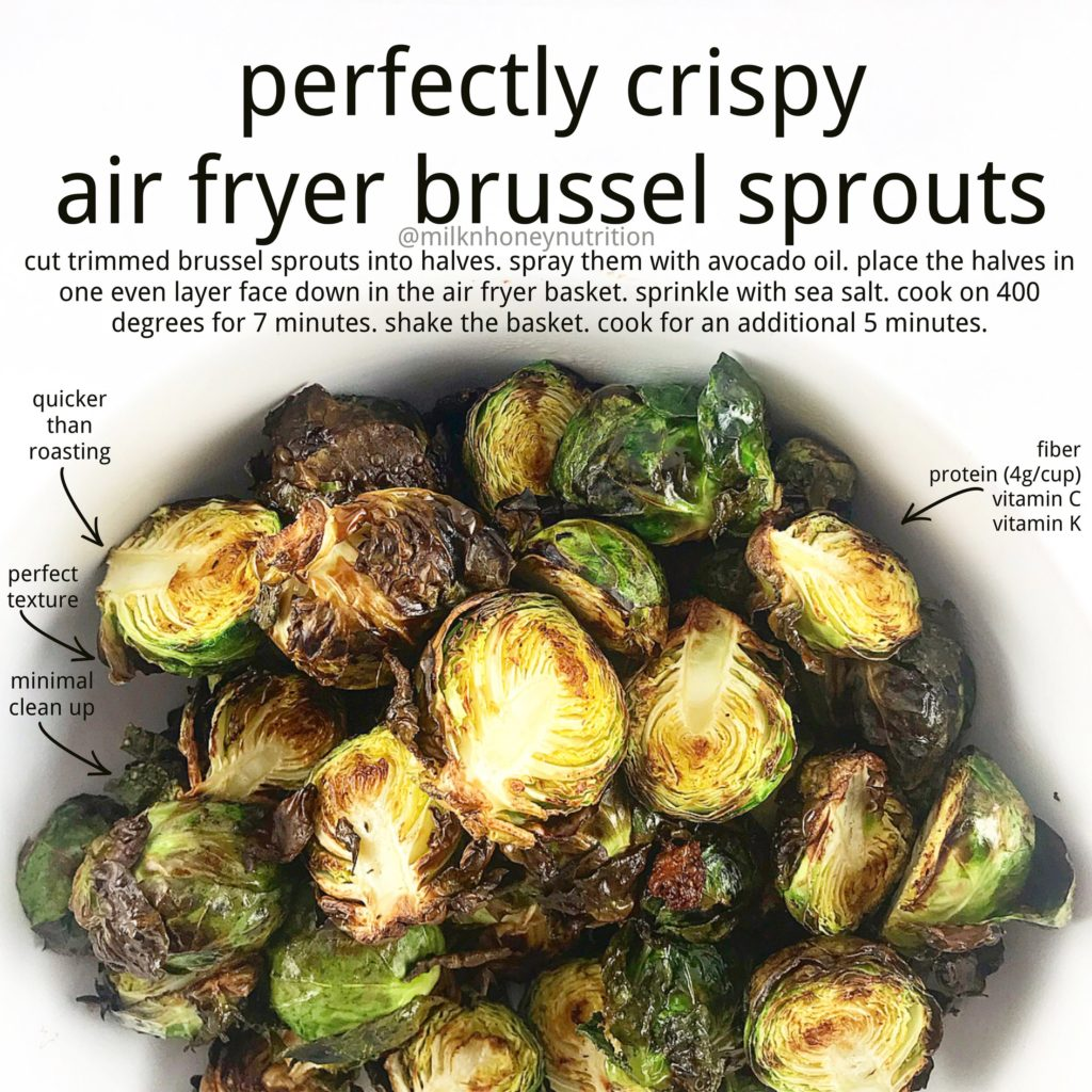 direction sheet for how to use the air fryer to make brussel sprouts