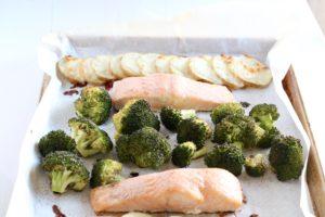 15-minute lemon pepper salmon sheet pan dinner