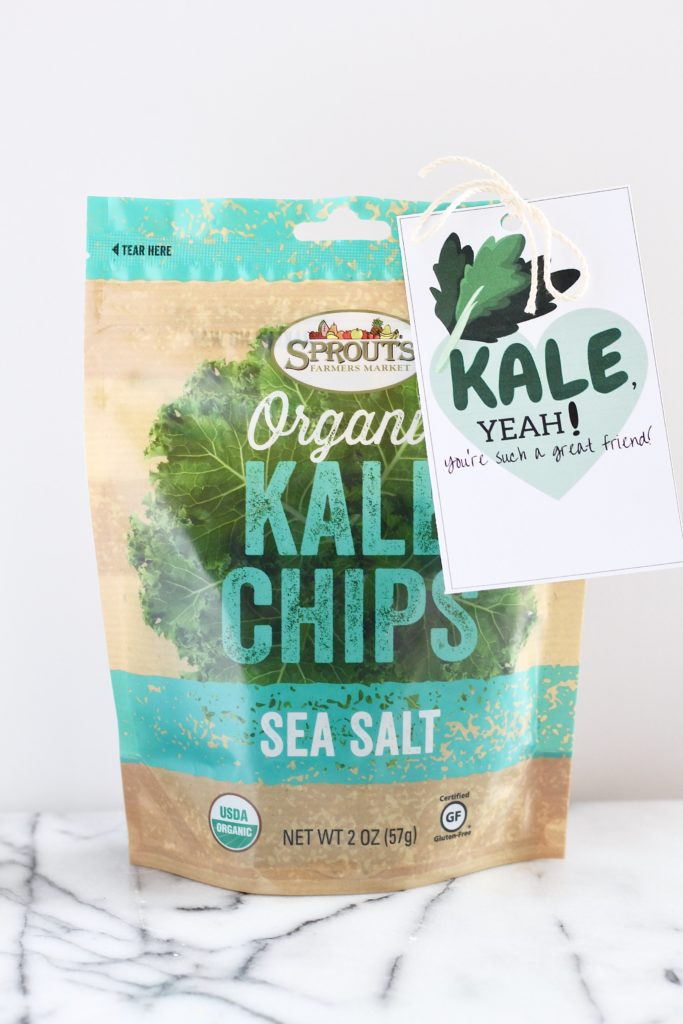 kale chips with sea salt sprouts with a a note