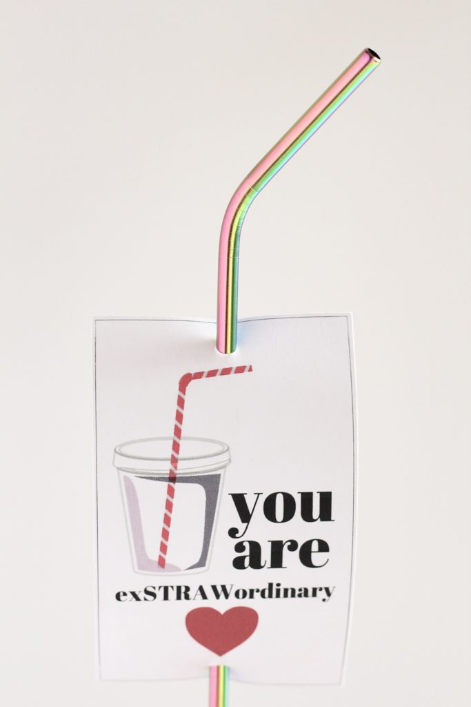 you are exstrawordinary valentines day card with a straw