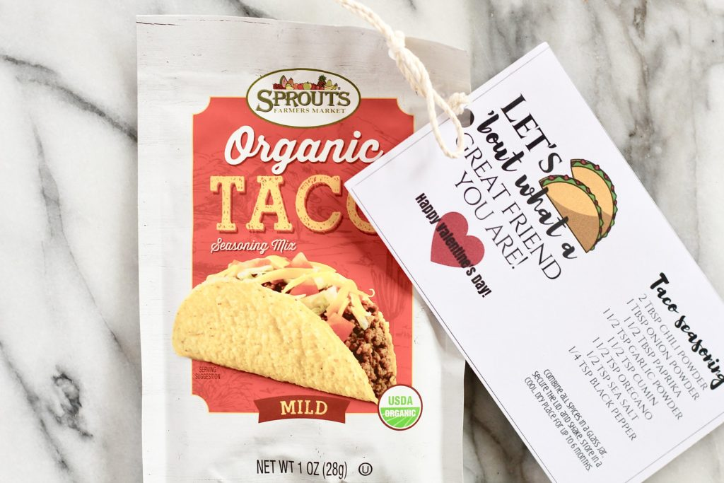 organic taco seasoning mix with valentines day card and recipe